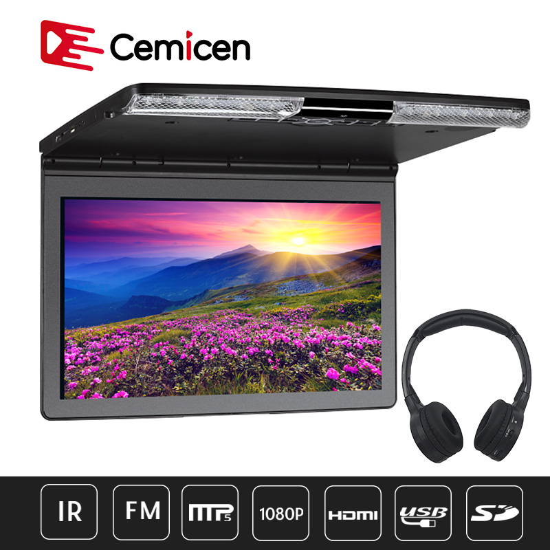 17.3'' Car Ceiling Flip Down Roof Mount Monitor 1920x1080