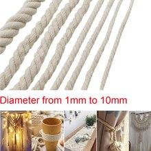 1/2/3/4/5/6/8/10mm Diameter Beige Cotton Rope Twisted Cord Craft Macrame Artcraft String DIY Handmade Tying Thread