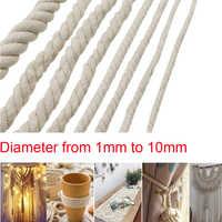1/2/3/4/5/6/8/10mm Diameter Beige Cotton Rope Twisted Cord Craft Macrame Cord Artcraft String DIY Handmade Tying Thread Cord