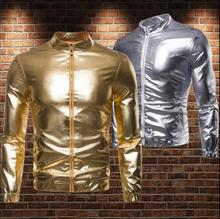 Gold silver jacket men casual clothes Rock hip hop metallic bright face collar bronzing mens jackets and coats stand