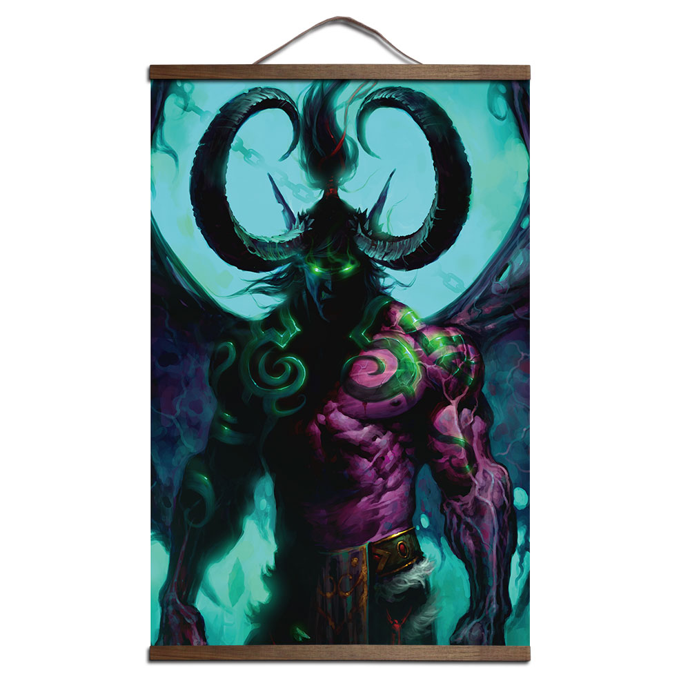 poster for World of Warcrafts Sylvanas Windrunner canvas prints posters decoration painting with solid wood hanging scroll 1