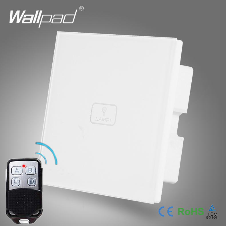 Wireless Remote Control Smart Home Wallpad White Crystal Switch 110-250V 1 Gang 2 Way Touch Screen Remote Control Light Switch one way wireless remote control switch white silver 110 220v