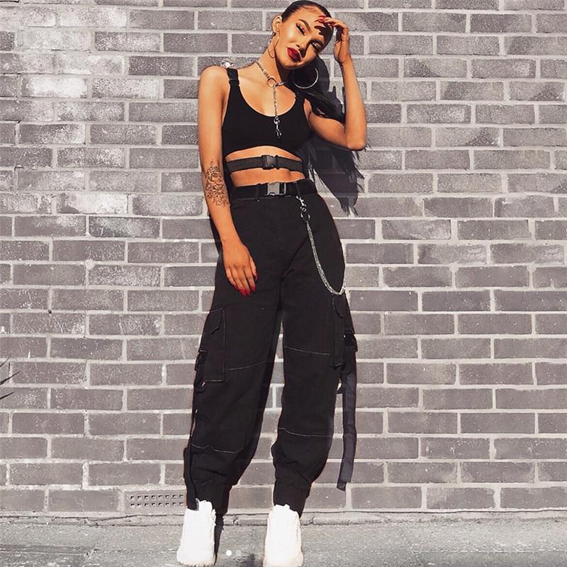 2018 New Fashion Women Sexy Button Harem Pants Zipper High Waist Flare Long Pant Hip Hop Style Pants Sexy & Club Autumn Joggers