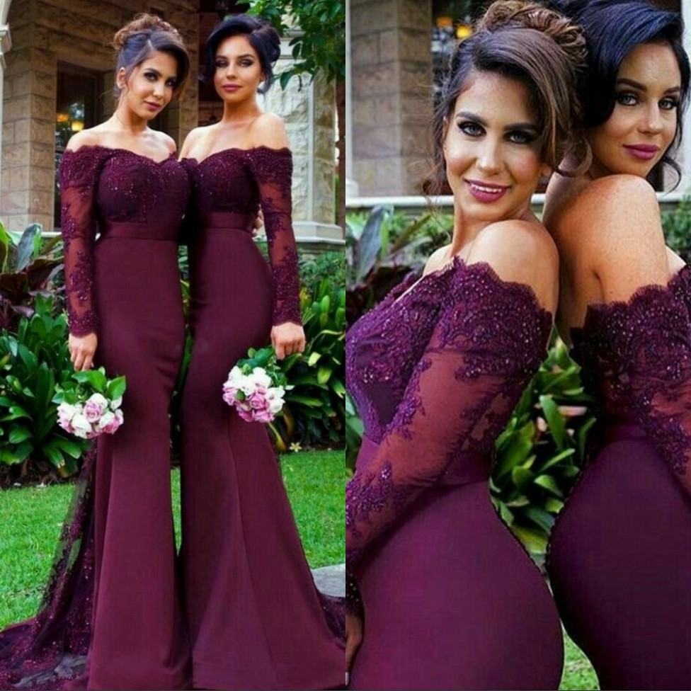 Cheap Burgundy Long Sleeves Boat Neck Floor Length Crystal Beaded Lace Appliques Satin Mermaid   Bridesmaid     Dresses   Fast Shipping