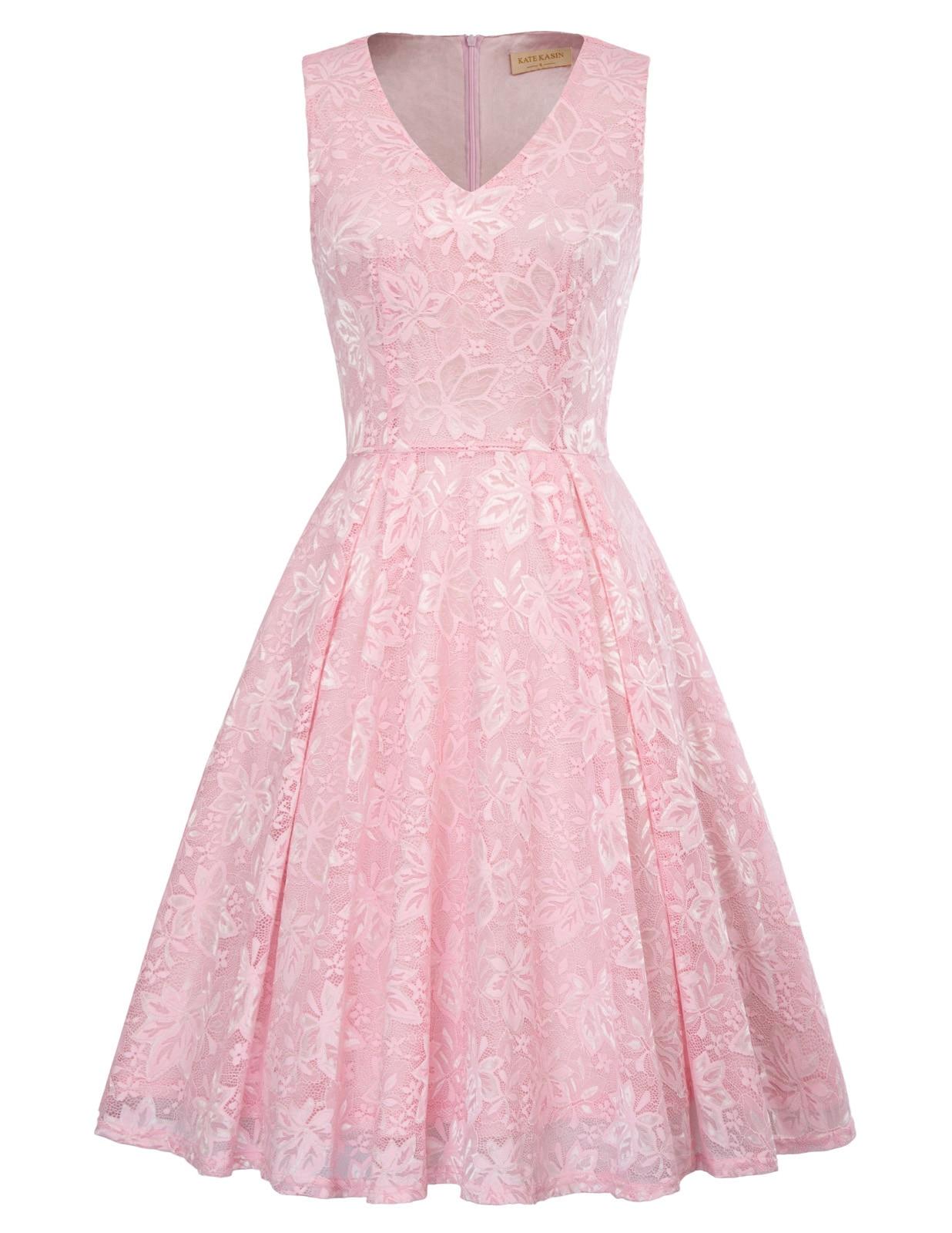plus size women dress retro vintage elegant Sleeveless V-Neck Party Flared A-Line Lace Dress