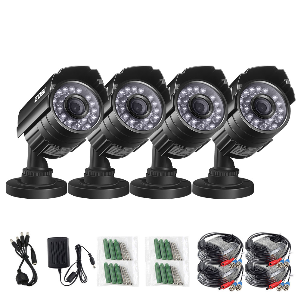 ZOSI  4PCS HD 720P TVI CCTV Camera 1.0MP CCTV Security Camera IR indoor outdoor IP66 CCTV Surveillance Cam kitZOSI  4PCS HD 720P TVI CCTV Camera 1.0MP CCTV Security Camera IR indoor outdoor IP66 CCTV Surveillance Cam kit