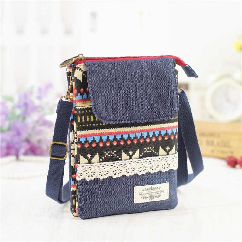 National Style Women Shoulder Bag Cotton Mobile Phone Bags Zipper Printing Messenger  Bags Coin Key Purse e87adb7bfd179