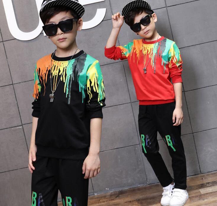 Boys Clothing Set Autumn Sports 2Pcs\set Clothes Long Sleeve Cotton Kids Clothes doodle Print Tops Sweatshirts + Haren pants