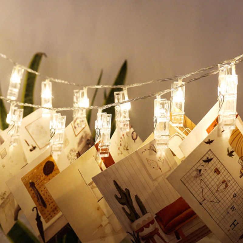 5 м 3 м 2 м 1 м Звезда фото карты клип Фея светодиодный свет шнура дома Рождество украшение праздника USB/аккумуляторная лампа