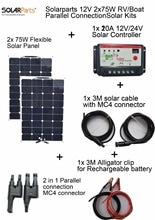 Solarparts 2x75W DIY RV Boat Kits Solar System 2 x75W flexible solar panel 1x 10A solar