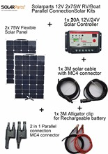 Solarparts 2x75W DIY RV/Boat Kits Solar System 2 x75W flexible solar panel 1x 10A solar controller 1 set 3M MC4 cable 1 set clip