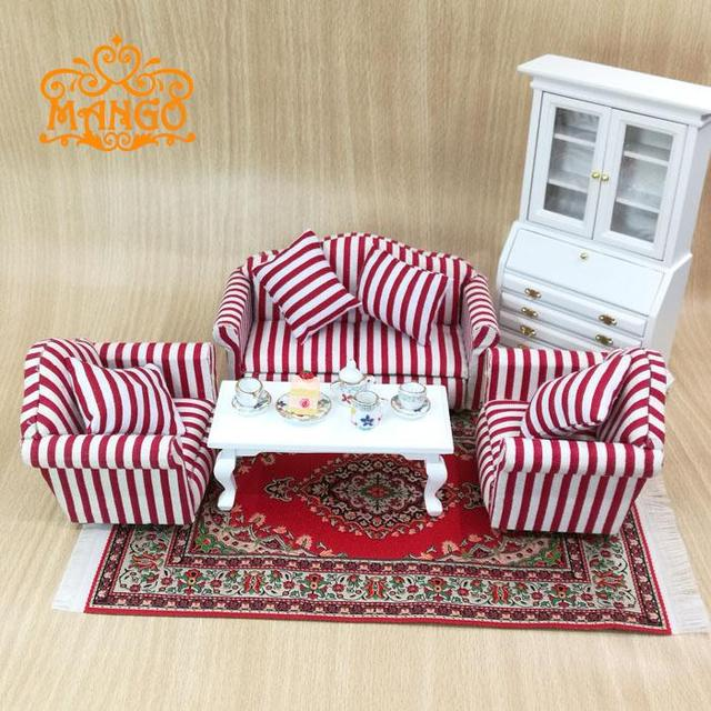1:12 Dollhouse Miniature Living Room Furniture Pink plaid Sofa Set 4 Couch with coffee table free shipping