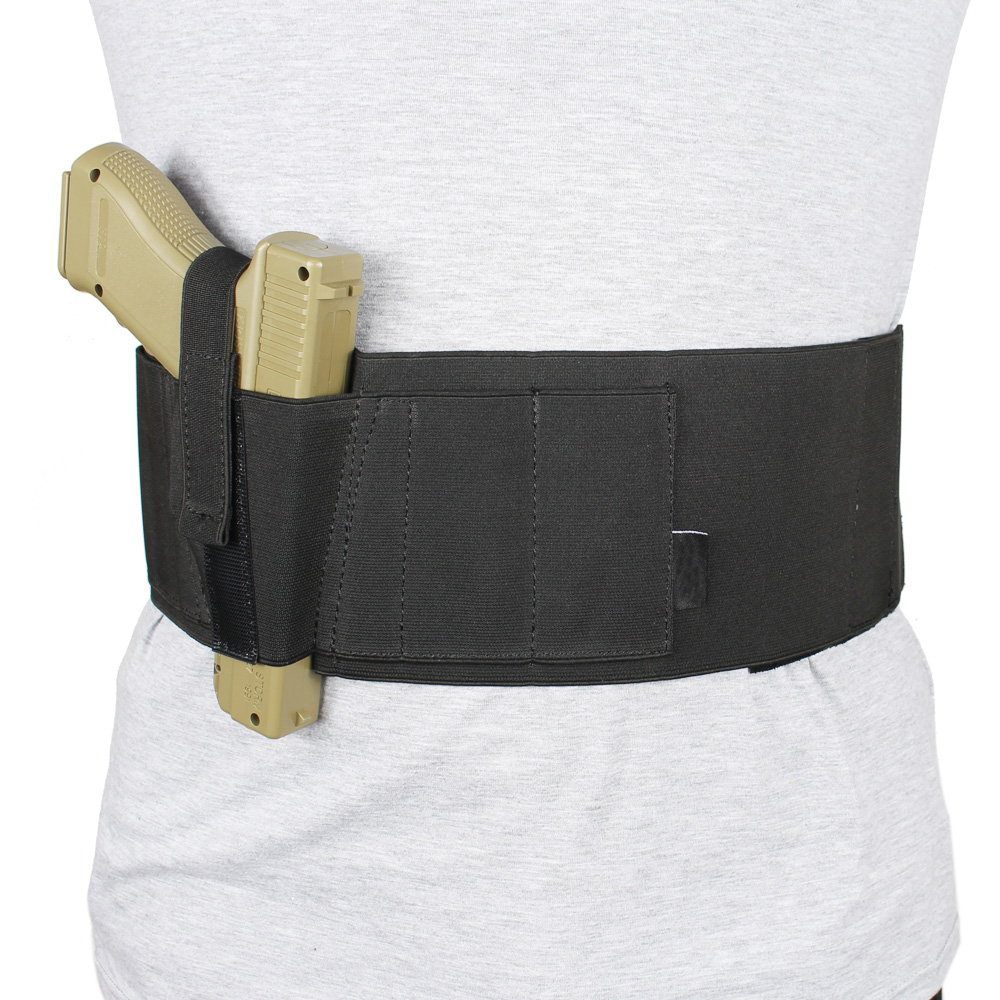 Belly Band Holster Concealed Carry with Retention Strap and Mag Pouch Fits Glock Ruger LCP M&P