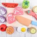 Cozinha toys pretend play frutas e legumes fatia de madeira casa de brinquedo de madeira brinquedo magnético venda única fatia conjunto unisex