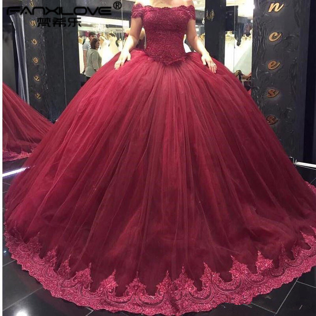 Dubai Arabic Saudi Arabia Hot Sale Wine Red Wedding Ball Gown Wedding  Dresses Tulle off the shoulder Puffy Bridal Dress 12a556d63051