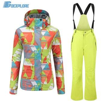 Goexplore Skiing Suit Women Snowboard Set Thicken Warm Windproof Winter Snow Suit Female Breathable Outdoor Waterproof Ski Wear