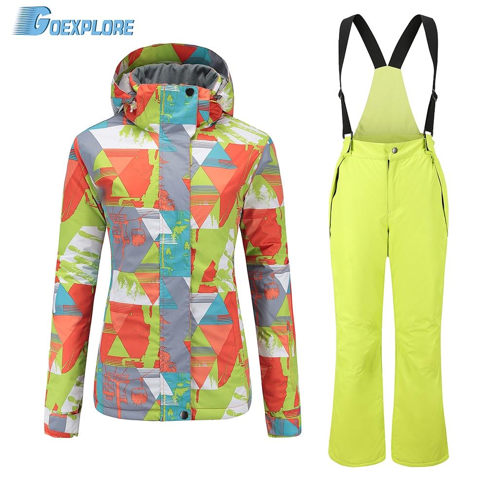 Goexplore combinaison de ski femmes Snowboard ensemble épaissir chaud coupe-vent hiver neige costume femme respirant extérieur imperméable vêtements de ski
