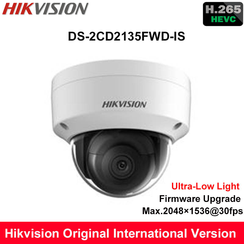 Hikvision English 3MP H.265 Ultra-Low Light IP Camera DS-2CD2135FWD-IS replace DS-2CD2132F-IS Dome Security Camera WDR POE Audio hikvision ds 2df8223i ael english version 2mp ultra low light smart ptz camera ultra low illumination dark fighter