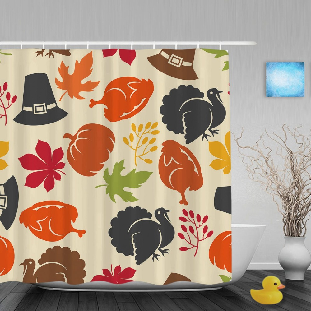 Halloween shower curtain hooks - Happy Halloween Bathroom Shower Curtain Pumpkin And Turkey Leaves Decor Shower Curtains Waterproof Polyester Fabric With Hooks