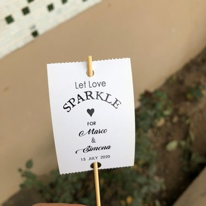 Personalised Sparkler Glow Sticks Tags Let Love Sparkle Wedding Firework Tags Favour decorations(China)