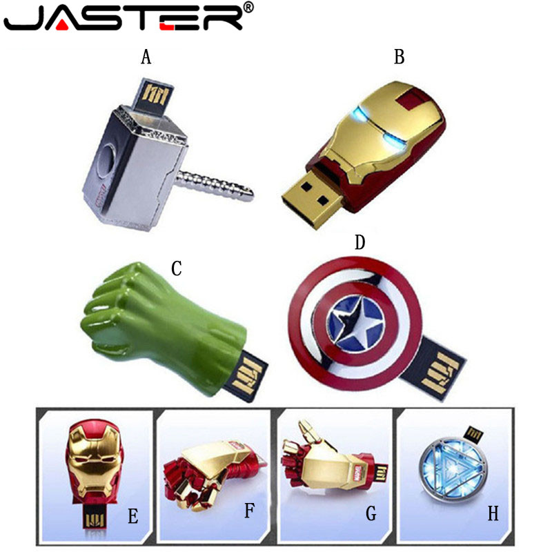 Avengers Iron Man Captain America Thor Hammer THE Hulk Metal USB 2.0 Flash Drive Memory Stick 4GB 8GB 16GB 32GB 64GB USB Disk