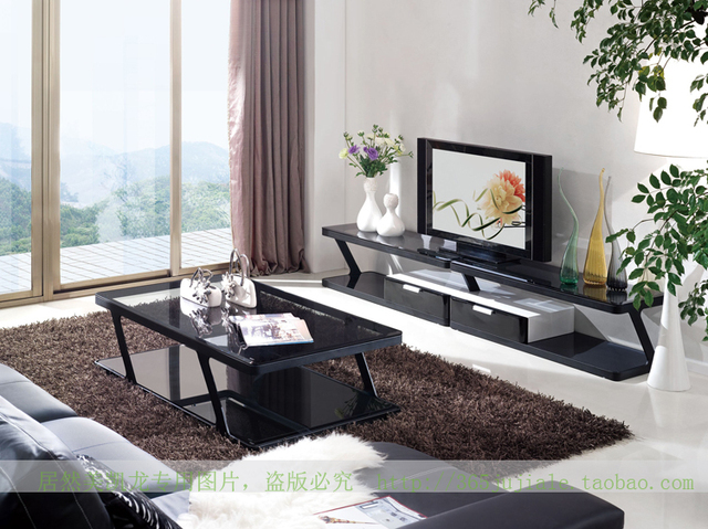 Tinted Gl Coffee Table Black Border Creative Simple And Stylish Living Room