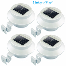 UniqueFire 4Pcs Lot 3 LED Solar Lamp Outdoor Porch Yard Wall LED Light Gutter Fence Backyard