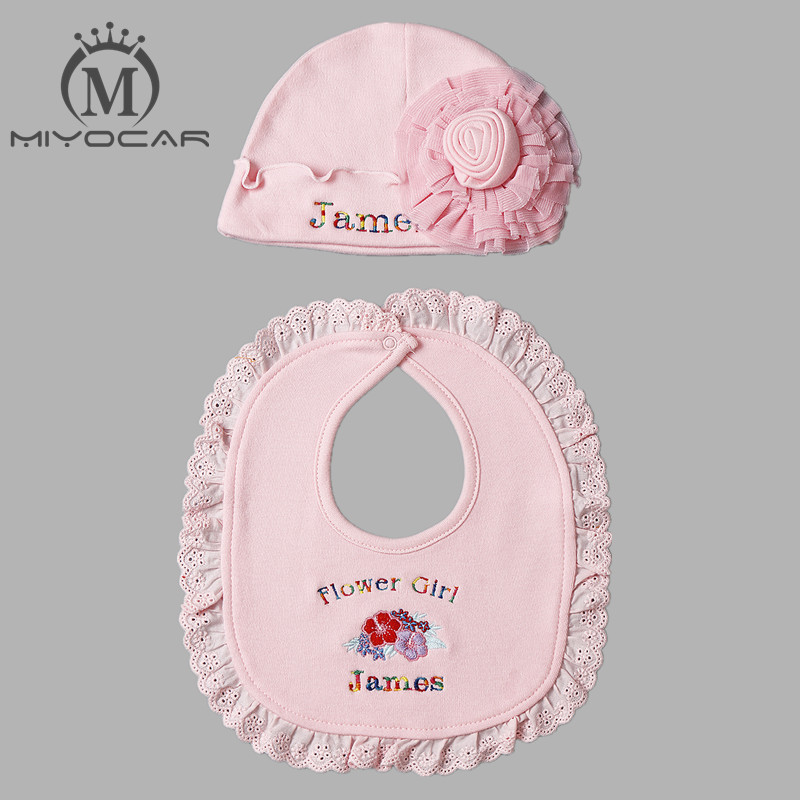 MIYOCAR Personalised Any name Baby hat baby bib flower hat cotton princess bib and hat set baby shower gift