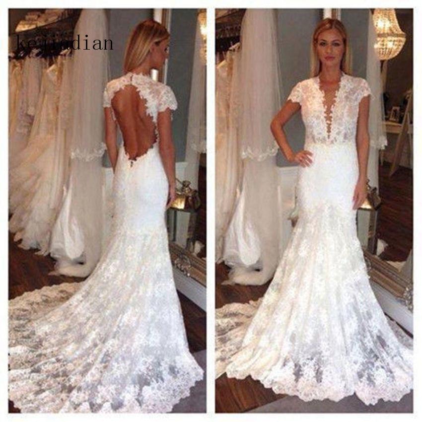 Vintage Wedding Gown Lace Mermaid Bridal Gown Wedding Dress Cap