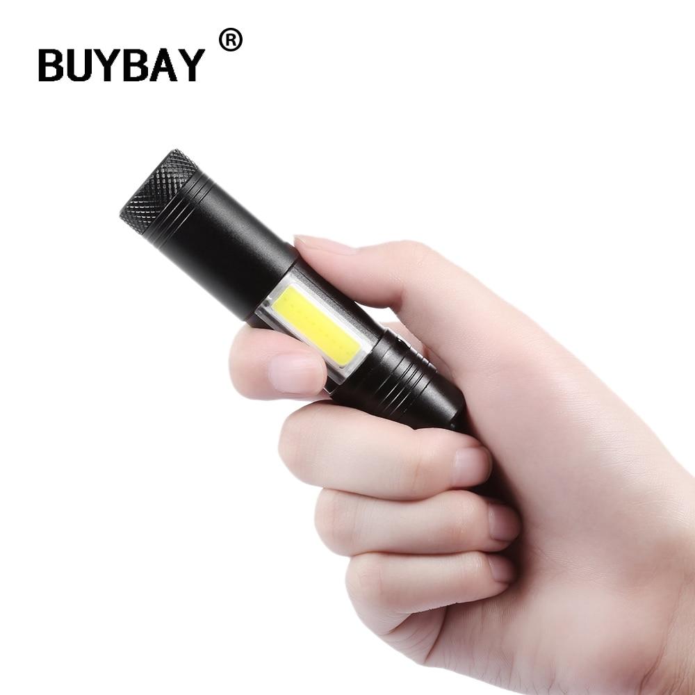 BUYBAY Mini Portable Aluminum Q5 LED Flashlight Torch XRE&COB Work Light lanterna Powerful Penligh Lamp 4 Modes Use 14500 or AA набор для маникюра ранок шикарные ноготки