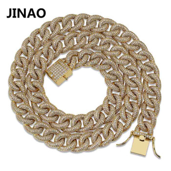 JINAO New Ellipse Cuban Link Chain Necklace Hip Hop Miami Iced Out Cuban Chain with Cubic Zirconia n Jewelry Buckle Gift