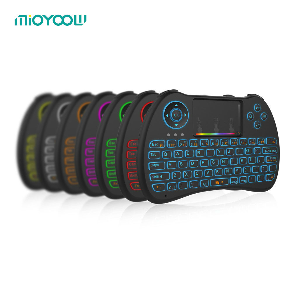 Multi Color Backlight Mini 2 4G Wireless Keyboard Adjustable Rainbow Backlit for Mini PC Android TV