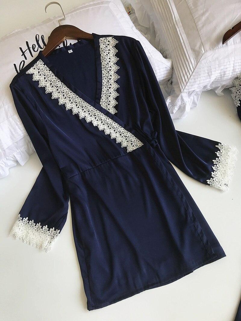 Queenral 4pcs Pajama Sets For Women Sleep Lounge Satin Sleepwear Pijama Spring Home Wear Pyjama With Chest Pads Nightwear Set11
