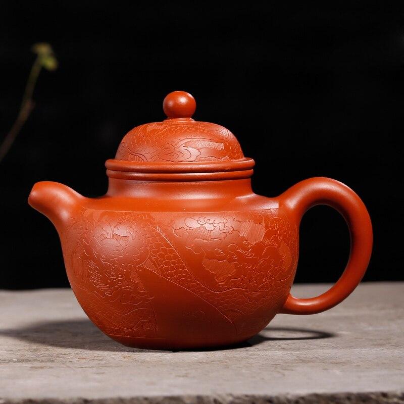 240 ML Yixing patrón Vintage auténtica tetera de arcilla púrpura todos los filtros hechos a mano Zisha tetera de té negro Raw mineral dhongpao olla regalo - 6