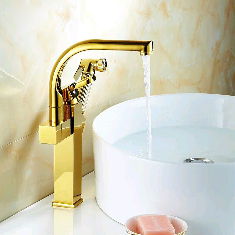 цена на Kitchen Sink Faucet Heighten Style golden faucet Single Handle Pull Out Mixer Tap Deck Mounted Gold Polished