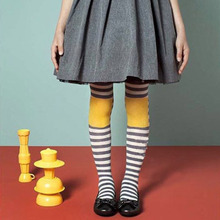 Girls Tights Stockings Autumn Winter Thicken Kids Warm Stockings Color striped  Cotton Slim Tights