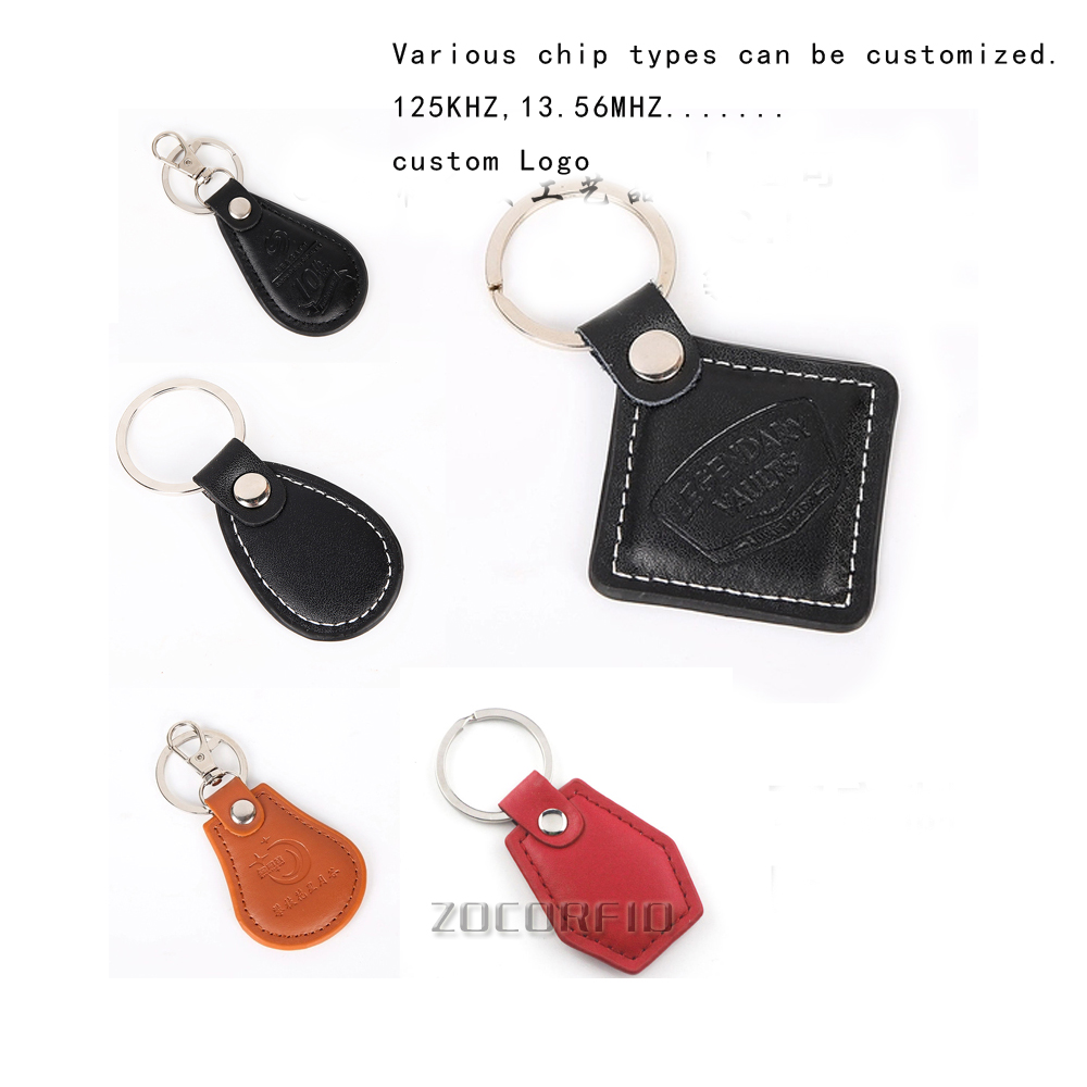 Free Shipping 100pcs/lot Leather 13.56MHZ Ic Card Keychain / 13.56MHZ Access Control Card