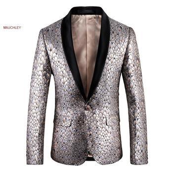 Slim Fit Blazers escamas de pescado impreso traje Blazer hombres Blazer caminar hombres chaqueta Veste traje 5XL gran tamaño invierno Jecket 2019