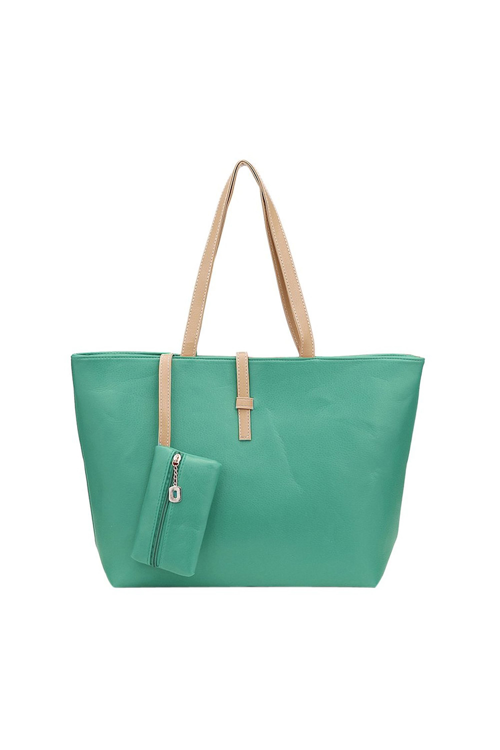 10Pcsgreen Big Handbag Shoulder Bag PU Leather Tote With Small Wallet Bag For Women