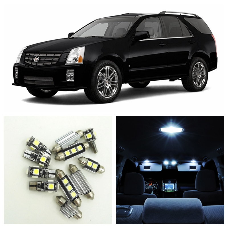 14pcs White Canbus Car LED Light Bulbs Interior Package Kit For 2004 2005 2006 2007 Cadillac SRX Map Dome License Plate Lamp 1pair canbus free led car license plate light number plate lamp for opel vectra c estate 2002 2003 2004 2005 2006 2007 2008