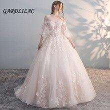 2019 Ball Gown Wedding dress Tulle Lace Appliques Plus Size Dress vestido de noiva Backless Boho G084