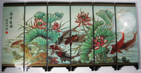 TNUKK Desk decorative chinese fish and lotus 6 panel folding screen