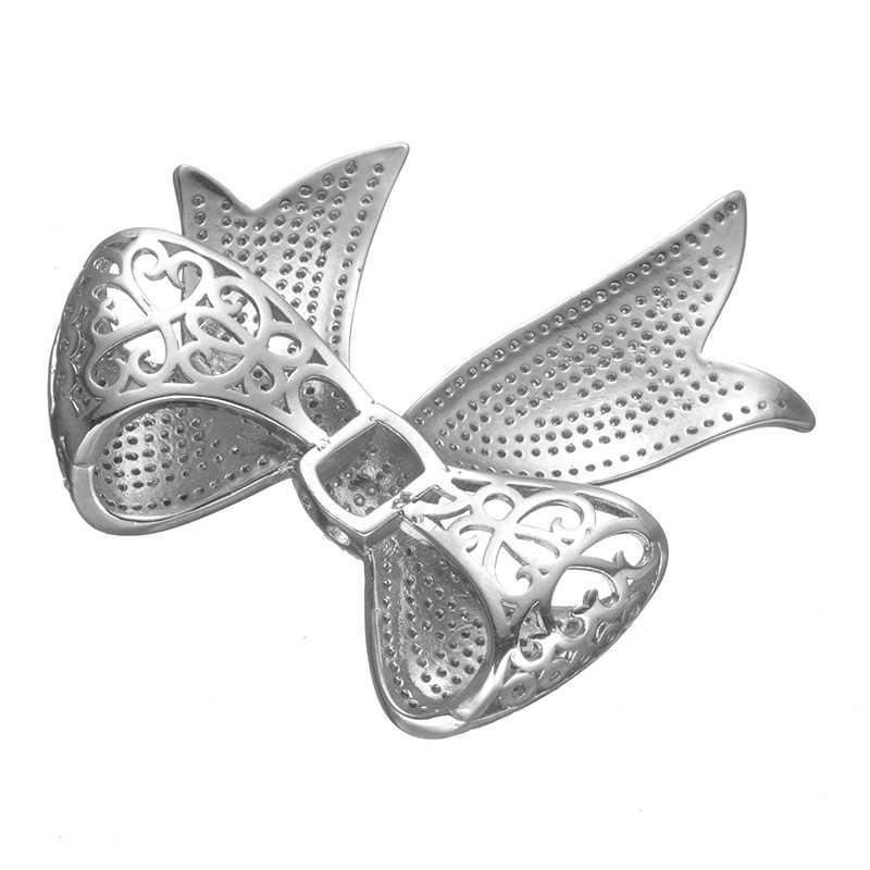 Luxus AAA Zirkonia Kristall Strass Bowknot Silber Anhänger Zubehör Für DIY Perle Perlen Halskette, Die Entdeckungen