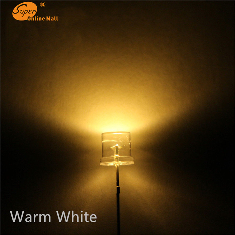 100pcs LED 5MM Flat Top WARM WHITE Wide Angle Emitting Diodes Urtal Bright Light Bulb Led Lamp  5MM Leds Components