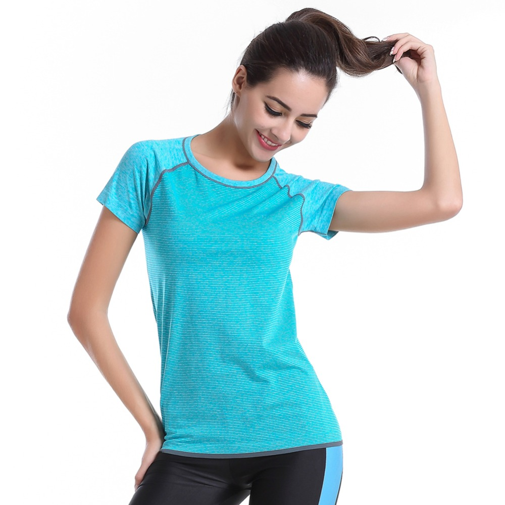 Women Workout Fitness Exercise Running T-Shirt Sports Top Short Sleeve