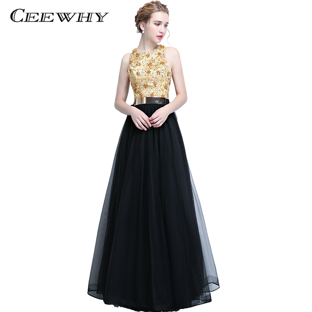 Ceewhy Patchwork Embroidery Beading Long Evening Dress Formal
