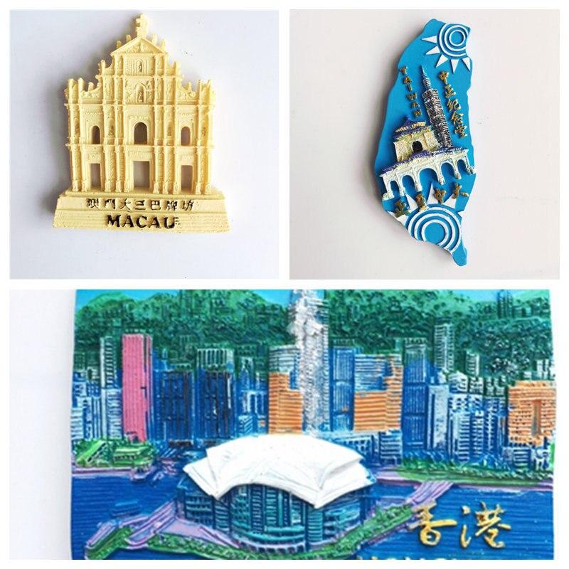 Hongkong Macau Taiwan Tourist Souvenir Resin Fridge Magnets Land mark Buildings Fridge Sticker MagNICI Idea Gift
