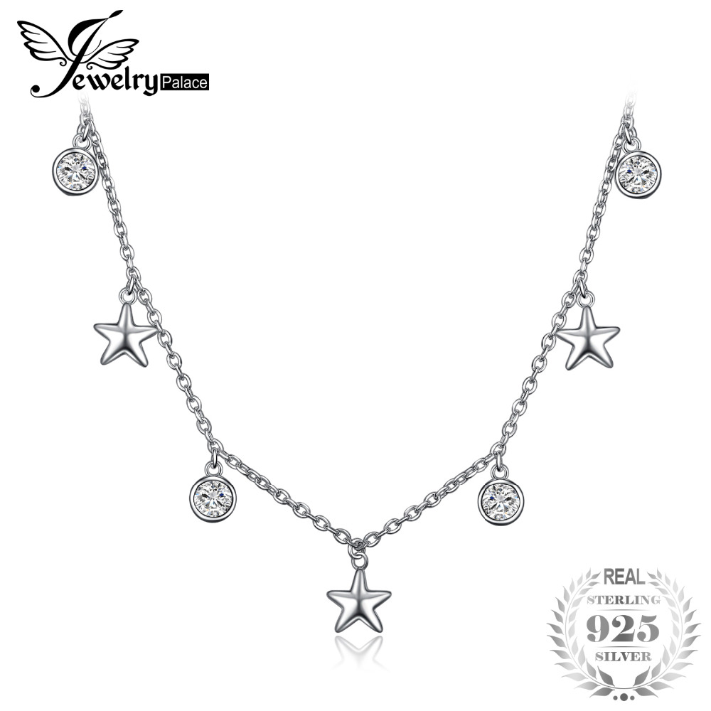 JewelryPalace Starry Night 1.2ct Cubic Zirconia Chocker Star Necklace 925 Sterling Silver Gift For Women Or Girl