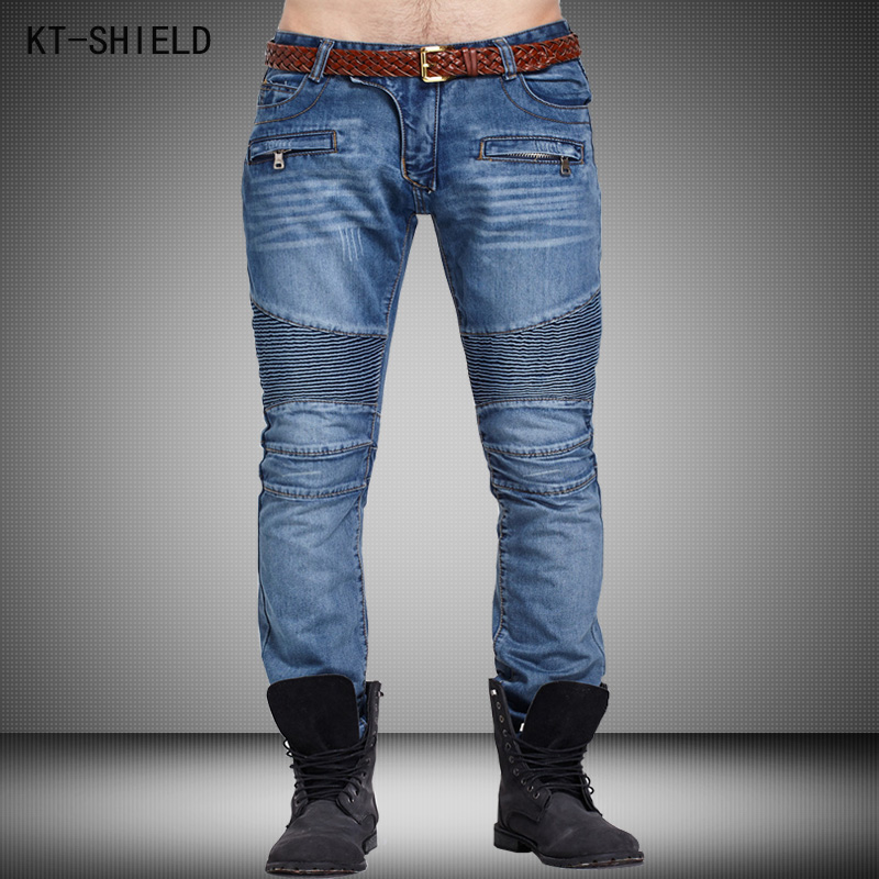 Tide Brand men ripped jeans Pants Straight Slim Biker Jeans high quality Cotton Cozy Denim Fabric mens skinny Bule Slim Trousers 2017 fashion patch jeans men slim straight denim jeans ripped trousers new famous brand biker jeans logo mens zipper jeans 604