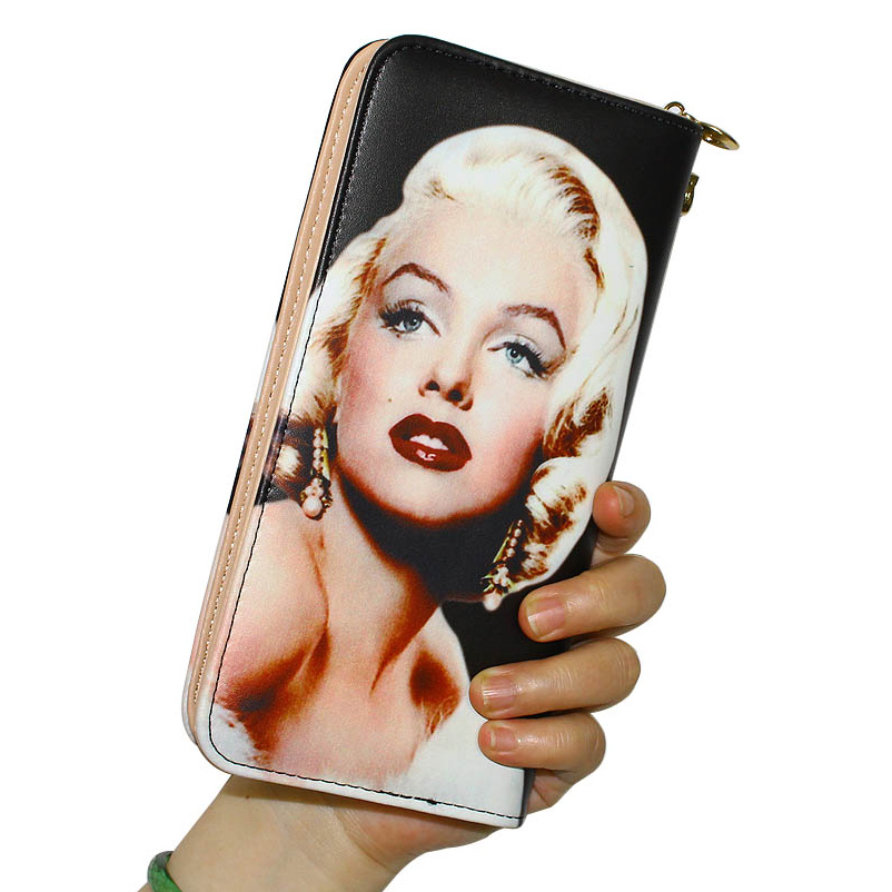 Women Wallets Lady Handbags Long Moneybags Marilyn Monroe Pattern Zipper Coin Purse Cards Holder Clutch Woman Wallet Burse Bags rose diary new fresh pool party cute silicone zipper bags zero wallet child girl boy purse lady women coin wallets pouch case
